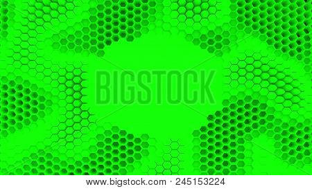 Abstract Green Crystallized Background. Honeycombs Move Like An Ocean. With Place For Text Or Logo.