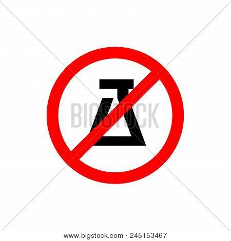 Forbidden Experiment Sign, Prohibition Symbol, Editable Vector Illustration