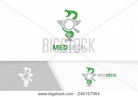 Vector Medicine And Loupe Logo Combination. Pharmacy And Magnifying Symbol Or Icon. Unique Ambulance
