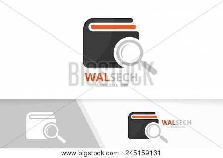 Vector Wallet And Loupe Logo Combination. Purse And Magnifying Symbol Or Icon. Unique Finance And Se