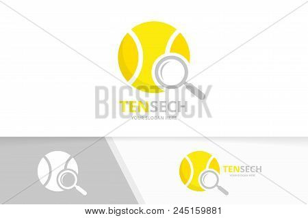 Vector Tennis And Loupe Logo Combination. Game And Magnifying Symbol Or Icon. Unique Ball And Search