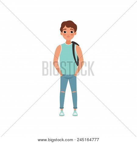 Schoolboy With Backpack, Student Of Highschool School, Stage Of Growing Up Concept Vector Illustrati