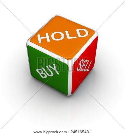 Hold, Buy & Sell Dice. Trading symbol isolated on white background.