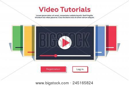 Mock-up Design Website Flat Design Concept Video Tutorial. Vector Illustration. Broadcasting Platfor