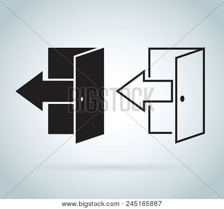 Vector Logout Icon Exit Sign Or Register Logout Button. Exit Online Vector Icons Set. Log Off Or Sig