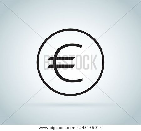 Euro Sign, Coin Isolated On White Background. Money, Currency Icon. Cash Symbol. Business, Economy C