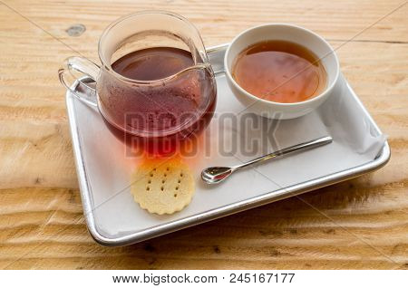 British Chai Tea With Pitcher And Biscuit Cookie