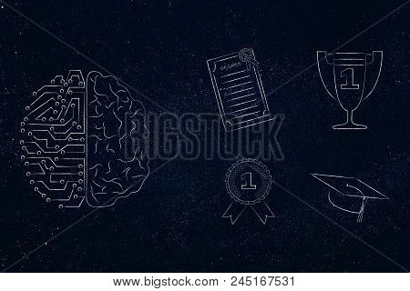 Genius Mind Conceptual Illustration: Half Digital Half Human Brain Next To Group Of Education Accomp