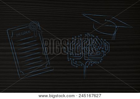 Genius Mind Conceptual Illustration: Digital Brain With Graduation Cap Next To Degree