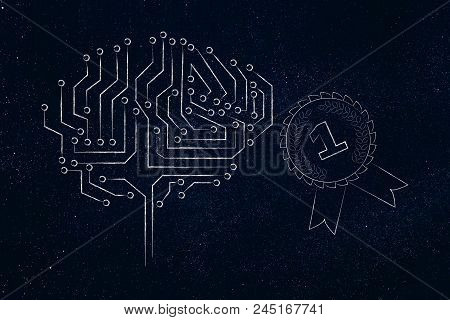 Genius Mind Conceptual Illustration: Digital Brain Next To 1st Place Competition Winner Ribbon