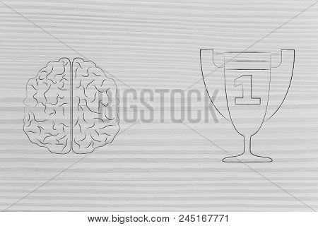 Genius Mind Conceptual Illustration: Brain Next To 1st Place Competition Winner Trophy