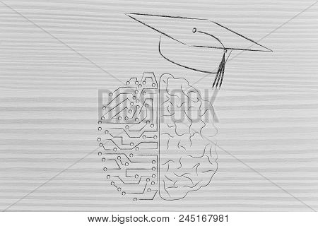 Genius Mind Conceptual Illustration: Half Digital Half Human Brain With Graduation Mortar Cap