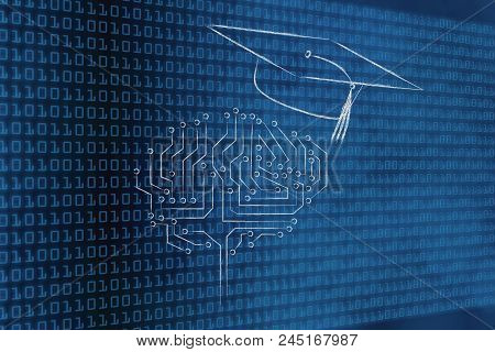 Genius Mind Conceptual Illustration: Digital Brain With Graduation Mortar Cap