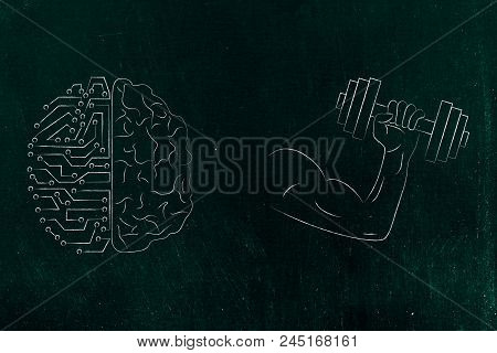Genius Mind Conceptual Illustration: Half Human Half Digital Brain Next To Powerful Arm Holding Dumb