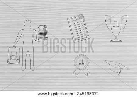 Genius Mind Conceptual Illustration: Student Holding Books Next To Group Of Education Accomplishment