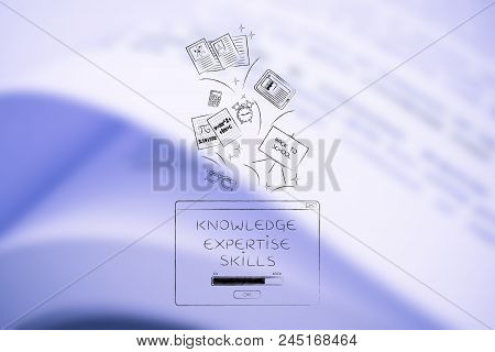 Genius Mind Conceptual Illustration: Knowledge Expertise Skills Loading Pop-up With School Items Goi