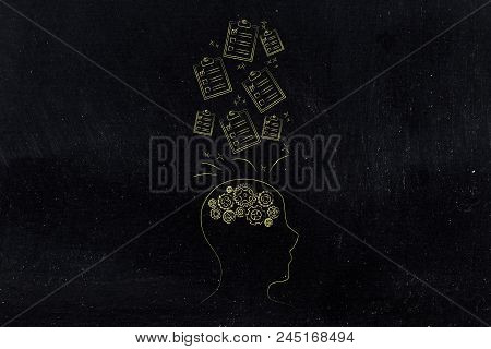 Genius Mind Conceptual Illustration: Head Profil With Gearwheels And To Do Lists Going In Or Out Of