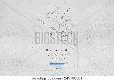 Genius Mind Conceptual Illustration: Knowledge Loading Pop-up Message With Success And Opportunities