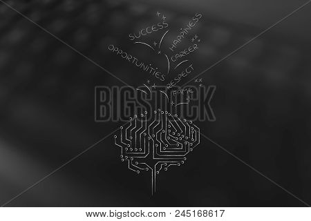Genius Mind Conceptual Illustration: Digital Brain With Success And Opportunities-related Captions G