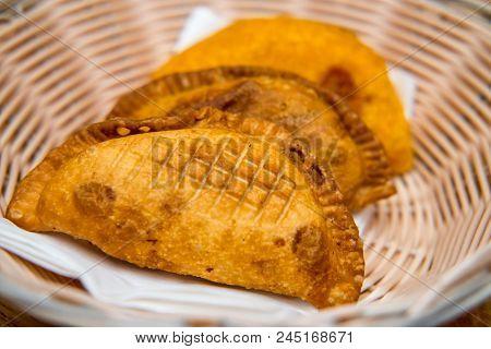Basket Of Fresh Crispy Mexican Empanada Meat Pies