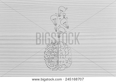 Genius Mind Conceptual Illustration: Half Human Half Digital Brain With Idea Light Bulbs Going In Or