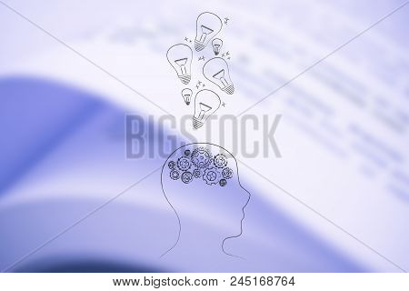 Genius Mind Conceptual Illustration: Head With Gearwheels And With Idea Light Bulbs Going In Or Out