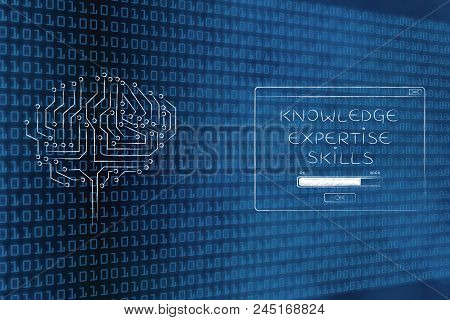 Genius Mind Conceptual Illustration: Digital Brain Next To Knowledge Expertise Skills Loading Pop-up