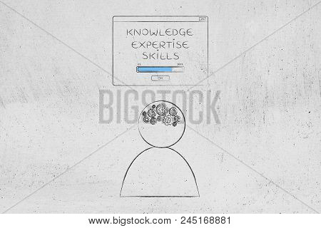 Genius Mind Conceptual Illustration: Knowledge Expertise Skills Loading Pop-up Message Above Person