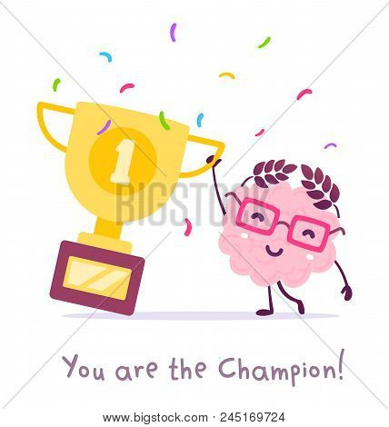 Vector Illustration Of Pink Color Smile Brain With Glasses Holding Golden Winner Cup On White Backgr