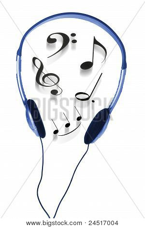 Headphone And Musical Notes