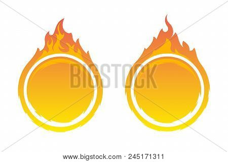 Two Round Fire Frames. Fire Design Element