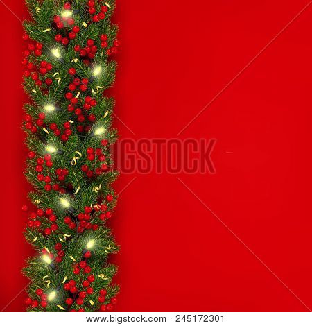 christmas and new year banner template realistic branches of christmas tree garland with glowing li