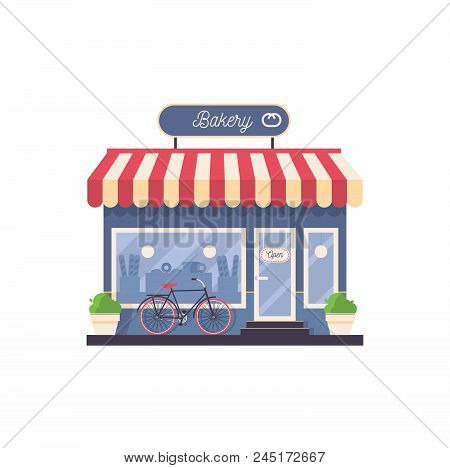 Isolated On White Vector Bakery Shop Storefront. Facade With Greenery, Bike, With Striped Rooftop An