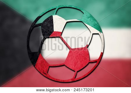 Soccer Ball National Kuwait Flag. Kuwait Football Ball.