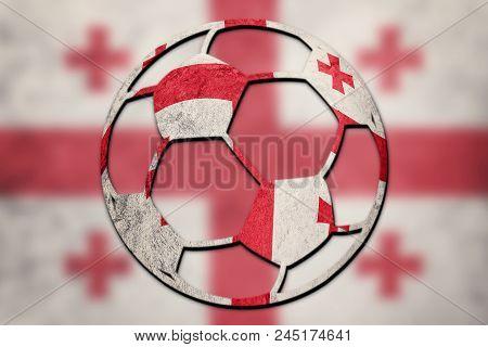 Soccer Ball National Georgia Flag. Georgia Football Ball.