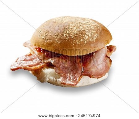 Delicious Bacon Roll Shot On White