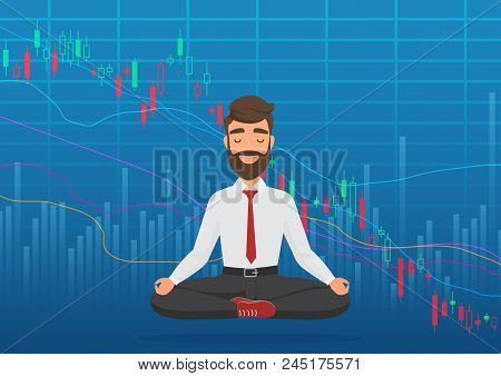 Young Man Trader Meditating Under Falling Crypto Or Stock Market Exchange Chart. Business Trader, Fi