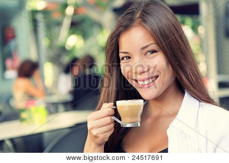 People On Cafe - Woman Drinking Coffee