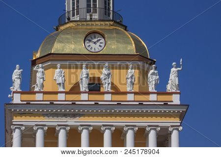 statues at the Admiralty. Saint-Petersburg, Russia