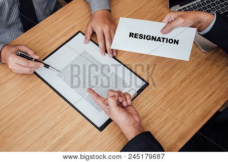 Hand Of Employer Filing Final Remuneration After Employee To Write A Document Letter Of Resignation,