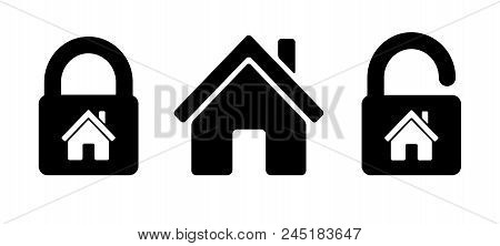 Lock House Icon Residential House, Home With Lock Icon. Simple Abstract Home Protection Icons In Bla