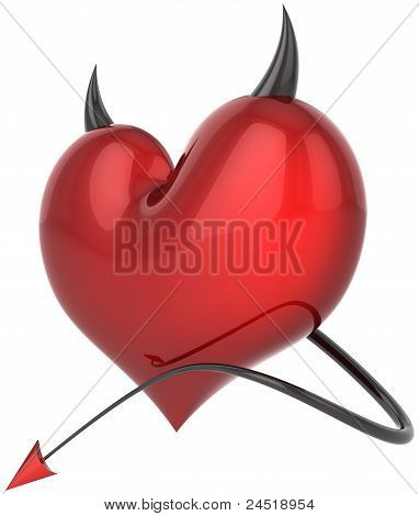 Heart of Devil satan colored red with black sharp horns
