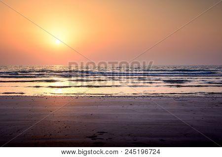 Seaside Sunset Scene On The Beach, Summer Vacation Abstract