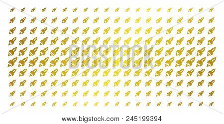 Space Rocket Launch Icon Gold Colored Halftone Pattern. Vector Space Rocket Launch Items Are Arrange