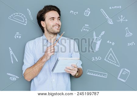 Easy Mathematical Problem. Cheerful Enthusiastic Young Man Being At The Math Lesson And Feeling Happ