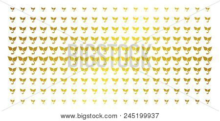 Sprout Icon Gold Colored Halftone Pattern. Vector Sprout Objects Are Organized Into Halftone Matrix