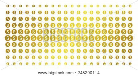 Financial Seal Icon Gold Halftone Pattern. Vector Financial Seal Objects Are Organized Into Halftone