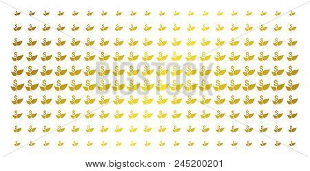 Eco Startup Icon Gold Colored Halftone Pattern. Vector Eco Startup Shapes Are Organized Into Halfton
