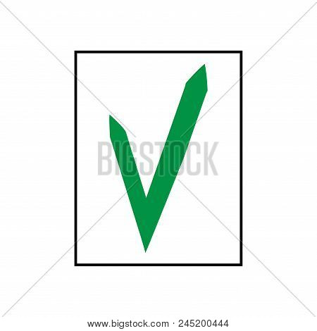 Tick Green Sign In Square. Isolated On White Background. Symbol Correct In Green Circle. Positive Ma