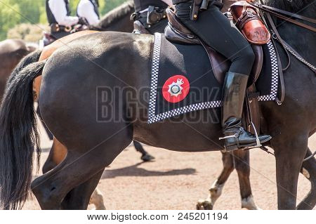 London. June 9 2018. A View Of Detail On The Horse Tack On The Metropolitan Police Horse During The